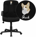 Embroidered Mid-Back Black Fabric Executive Chair with Nylon Arms