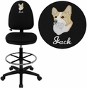 Embroidered Mid-Back Black Fabric Multi-Functional Drafting Stool with Adjustable Lumbar Support