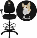 Embroidered Mid-Back Black Fabric Multi-Functional Drafting Stool with Arms and Adjustable Lumbar Support