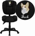 Embroidered Mid-Back Black Fabric Multi-Functional Ergonomic Task Chair
