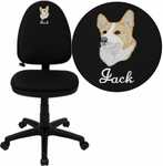 Embroidered Mid-Back Black Fabric Multi-Functional Swivel Task Chair with Adjustable Lumbar Support [WL-A654MG-BK-EMB-GG]