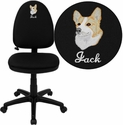 Embroidered Mid-Back Black Fabric Multi-Functional Task Chair with Adjustable Lumbar Support