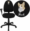 Embroidered Mid-Back Black Fabric Multi-Functional Task Chair with Arms and Adjustable Lumbar Support