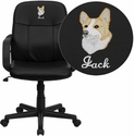 Embroidered Mid-Back Black Glove Vinyl Executive Swivel Office Chair