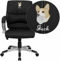Embroidered Mid-Back Black Leather Contemporary Manager's Office Chair