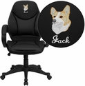 Embroidered Mid-Back Black Leather Contemporary Office Chair