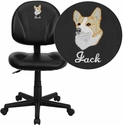 Embroidered Mid-Back Black Leather Ergonomic Swivel Task Chair