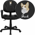 Embroidered Mid-Back Black Leather Ergonomic Task Chair with Arms