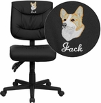 Embroidered Mid-Back Black Leather Multi-Functional Swivel Task Chair [GO-1574-BK-EMB-GG]