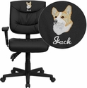 Embroidered Mid-Back Black Leather Multi-Functional Task Chair with Height Adjustable Arms
