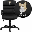 Embroidered Mid-Back Black Leather Swivel Task Chair
