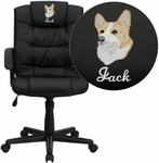 Embroidered Mid-Back Black Leather Swivel Task Chair [GO-937M-BK-LEA-EMB-GG]