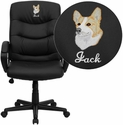 Embroidered Mid-Back Black Leather Office Chair