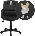 Embroidered Mid-Back Black Leather Office Chair with Nylon Arms