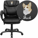 Embroidered Mid-Back Black Leather Overstuffed Office Chair