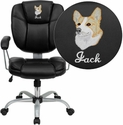 Embroidered Mid-Back Black Leather Task and Computer Chair