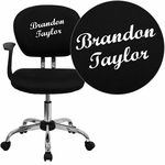 Embroidered Mid-Back Black Mesh Swivel Task Chair with Chrome Base and Arms [H-2376-F-BK-ARMS-EMB-GG]