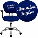 Embroidered Mid-Back Blue Mesh Swivel Task Chair with Chrome Base and Arms