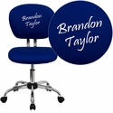 Embroidered Mid-Back Blue Mesh Swivel Task Chair with Chrome Base