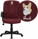 Embroidered Mid-Back Burgundy Fabric Executive Chair with Nylon Arms