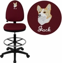 Embroidered Mid-Back Burgundy Fabric Multi-Functional Drafting Stool with Adjustable Lumbar Support