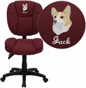 Embroidered Mid-Back Burgundy Fabric Multi-Functional Ergonomic Task Chair