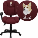 Embroidered Mid-Back Burgundy Fabric Multi-Functional Ergonomic Task Chair with Arms