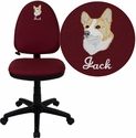 Embroidered Mid-Back Burgundy Fabric Multi-Functional Swivel Task Chair with Adjustable Lumbar Support