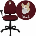 Embroidered Mid-Back Burgundy Fabric Multi-Functional Task Chair with Arms and Adjustable Lumbar Support