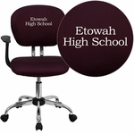 Embroidered Mid-Back Burgundy Mesh Swivel Task Chair with Chrome Base and Arms [H-2376-F-BY-ARMS-EMB-GG]