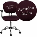 Embroidered Mid-Back Burgundy Mesh Swivel Task Chair with Chrome Base and Arms
