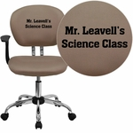 Embroidered Mid-Back Coffee Brown Mesh Swivel Task Chair with Chrome Base and Arms [H-2376-F-COF-ARMS-EMB-GG]
