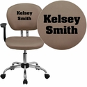 Embroidered Mid-Back Coffee Brown Mesh Swivel Task Chair with Chrome Base and Arms