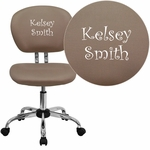 Embroidered Mid-Back Coffee Brown Mesh Swivel Task Chair with Chrome Base [H-2376-F-COF-EMB-GG]