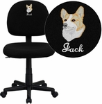 Embroidered Low Back Ergonomic Black Fabric Swivel Task Chair [BT-660-BK-EMB-GG]