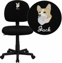 Embroidered Mid-Back Ergonomic Black Fabric Task Chair
