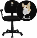 Embroidered Mid-Back Ergonomic Black Fabric Task Chair with Adjustable Arms