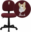 Embroidered Mid-Back Ergonomic Burgundy Fabric Task Chair