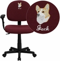 Embroidered Mid-Back Ergonomic Burgundy Fabric Task Chair with Adjustable Arms