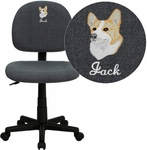 Embroidered Low Back Ergonomic Gray Fabric Swivel Task Chair [BT-660-GY-EMB-GG]