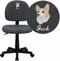 Embroidered Mid-Back Ergonomic Gray Fabric Task Chair