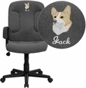 Embroidered Mid-Back Gray Fabric Executive Chair with Nylon Arms
