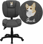 Embroidered Mid-Back Gray Fabric Multi-Functional Ergonomic Swivel Task Chair [GO-930F-GY-EMB-GG]