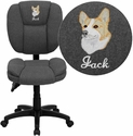 Embroidered Mid-Back Gray Fabric Multi-Functional Ergonomic Swivel Task Chair