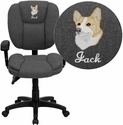 Embroidered Mid-Back Gray Fabric Multi-Functional Ergonomic Swivel Task Chair with Height Adjustable Arms