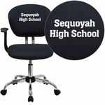 Embroidered Mid-Back Gray Mesh Swivel Task Chair with Chrome Base and Arms [H-2376-F-GY-ARMS-EMB-GG]