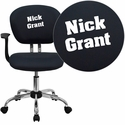 Embroidered Mid-Back Gray Mesh Swivel Task Chair with Chrome Base and Arms