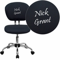 Embroidered Mid-Back Gray Mesh Swivel Task Chair with Chrome Base