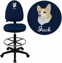 Embroidered Mid-Back Navy Blue Fabric Multi-Functional Drafting Chair with Adjustable Lumbar Support