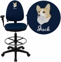 Embroidered Mid-Back Navy Blue Fabric Multi-Functional Drafting Stool with Arms and Adjustable Lumbar Support